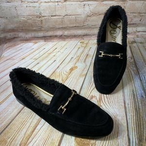Sam Edelman LORAINE Suede Fur Sherpa Loafers Shoes